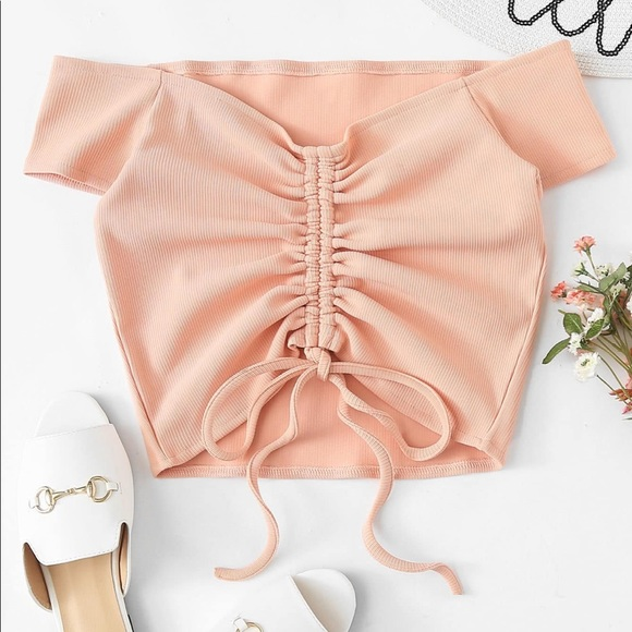 e942504c1206ef Blush Pink Off Shoulder Ruched Drawstring Crop Top